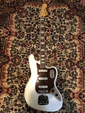 Squier VI bass in Olympic white finish