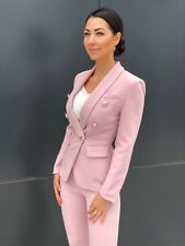 NEW!Double Breasted Pink blazer set pants suit gold buttons jacket suit XS,S,M,L