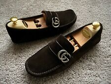 Authentic Gucci GG Brown Suede Leather Mens Loafer UK7 EU41 US7.5