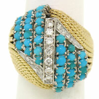 Vintage Hand Made 18k TT Gold 2.60ctw Turquoise & Diamond Dome Cocktail Ring