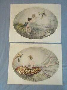 Louis Icart Style Lot of 2 Art Deco Lithograph Signed Prints 30s Women Parrots