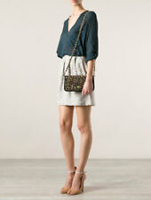 NWT Tory Burch Adalyn Leopard Raffia Clutch Bag Natural Black