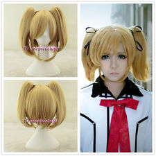 Vampire Knight Rima Touya short blonde Cosplay Wig Clip on 2 Ponytails+a wig cap