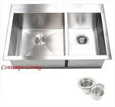 "33"" x 22"" x 10"" Double Bowl 60/40 Topmount Drop In Zero Radius Kitchen Sink"