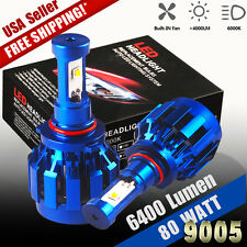 2pcs 9005 HB3 LED Headlight Bulbs Kit 80W High Beam Light 8000lm HID 6000k Lamp