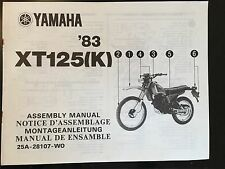 Yamaha XT125(K) Assembly Manual '83 As Supplied To Dealers, Ref 25A-28107-WO