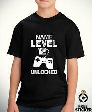 NEW Kids Custom Name Age T shirt Own Name Personalised Gamers Boys Birthday Tee