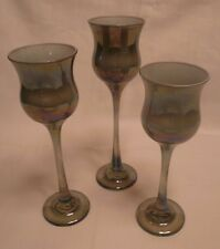 VINTAGE SET OF 3 VOTIVE CANDLE HOLDERS CANDELABRA SHADE GREEN CARNIVAL GLASS EUC