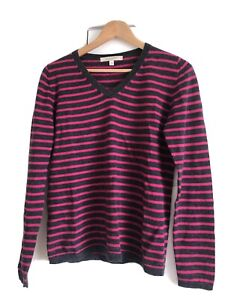 Ladies Striped V-neck Merino Wool Jumper Size 12