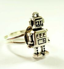 Tiny Robot Adjustable Ring Silver Tone Sci-Fi Spaceman Robots Android Jewellery