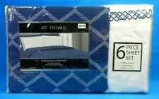 6 Piece Queen Size Sheet Set With Embroidered Pillow Cases Navy & White