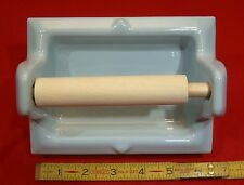 """Vintage *Light Blue* Ceramic Toilet Paper Holder by Fairfacts Recessed 1"""" Nos"""