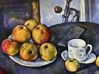 PAUL CEZANNE STILL LIFE WITH A BOTTLE APPLE CART OLD ART PAINTING PRINT 2113OMA