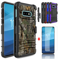 For Samsung Galaxy S10e Kickstand Clip Phone Case With Glass Screen Protector