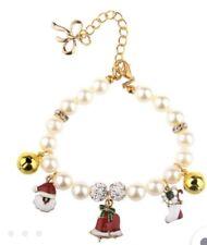 Holiday Pearl Dog Charm Collar Christmas Bells Santa Stockin Pig Cat Duck Medium