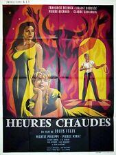 Affiche 120x160cm HEURES CHAUDES 1959 Liliane Brousse, Françoise Deldick, Mirat