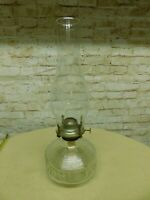 Vintage Oil Lamp Clear Glass Ribbed and Block pattern with chimney