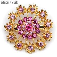 NEW GOLD FLOWER BOUQUET BROOCH PINK DIAMANTE CRYSTAL WEDDING PARTY PIN BROACH UK