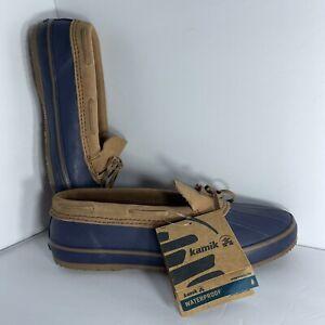 Kamik Antibacterial Mallard Duck Slip on Shoes New. Women's Sz 9 Navy Blue Tan