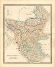 1843 ANTIQUE MAP- DOWER - TURKEY IN EUROPE, GREECE, LIST OF PROVINCES