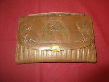"Vintage BrownTooled Cowhide 10"" x 6"" Small Briefcase/clutch*"
