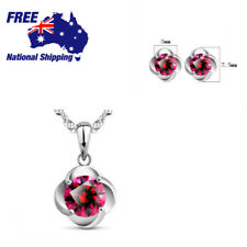Sterling Silver Stunning Red Zircon Pendant Necklace Earrings Set
