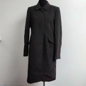 Jigsaw Wool Brown Coat With Inside Bird Print UK Size 14