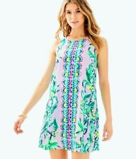 Lilly Pulitzer JACKIE Light Lilac Verbena Its Impawsible Eng Woven SHIFT DRESS L