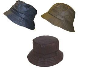 WAX BUSH BUCKET RAIN HAT WAXED COUNTRY OLIVE NAVY BLACK MENS LADIES UK SELLER