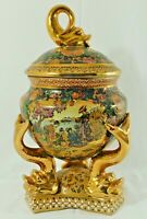"Large Vintage 16"" SATSUMA Chinese Gold Koi Fish Covered Pedestal Vase Urn Bowl"