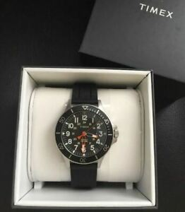 Watch Timex TW2R60600 STEEL 316 L Watch MEN Gents Black Quartz Analog 43mm UK