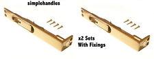 "2 x 4"" 100mm Flush Bolt Polished Solid Brass Ideal for Rebated Double Slide Door"