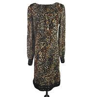 Tahari women's Sz 10 Cheetah Animal Print Lace Crochet Shift Dress Sheer Lined