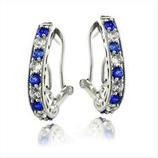 925 Silver 2.5ct Lab Created Blue & White Sapphire Oval Clutchless Earrings