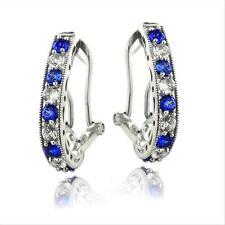 925er Silber 2.5ct ct Künstlicher blau & Weiss Saphir Oval kupplungslose