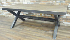 Large Industrial Dining Table Metal Crossed Legs Wooden Top Metal Trim Kitchen