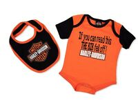 Harley Davidson Leotard & Bib For Infant & baby Kid, Orange/Black