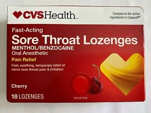 ( LOT OF 5 ) CVS Health Fast-Acting Sore Throat Lozenges CHERRY ( 18 ct. each )