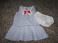 Janie And Jack 12-18 Blue White Striped Dress Vintage Chic