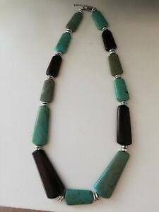 Large Statement Turquoise and Brown  Necklace