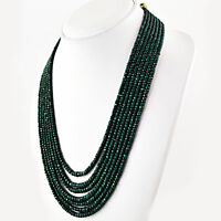 551.75 CTS NATURAL RICH GREEN EMERALD AMAZING 7 STRAND ROUND CUT BEADS NECKLACE