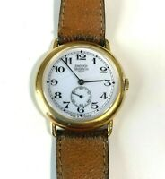 Vintage Emerich Meerson Women's Brown leather band Wind Watch Made in France