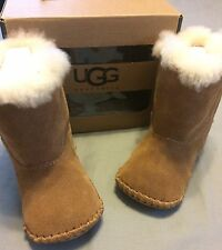 Infant Baby New Ugg Australia Boots Size 2/3 I CADEN Brown Fur Lined-In Box