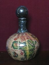 Vtg Old World Painted Leather Globe Map Liquor Wine Decanter Bottle From Italy