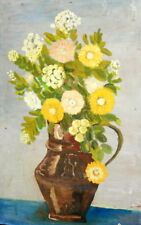 Vintage Bulgarian Impressionist Oil Painting, Still Life Flowers, Signed