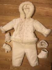 LA PETITE ROTHSCHILD GIRLS SNOWSUIT SIZE 24 MONTHS OFF-WHITE BOOTIES & GLOVES