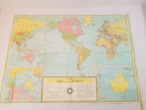 Universal Map Of The World 1957 Book Enterprises NYC 35X48 Folded Fast Ship