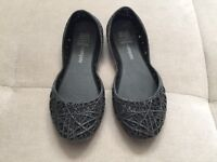 Girl Mel Melissa Black Sparkle Flats Rubber Shoes Size 11