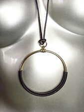 CHIC Artisanal Gold Metal Black Leather Ring Pendant Leather Cords Long Necklace