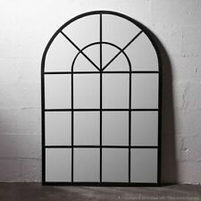 1.2 m x 80 cm  high  FRENCH  classical orangerie metal BLACK arched MIRROR  NEW